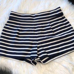 Blue & white striped high waisted J Crew shorts